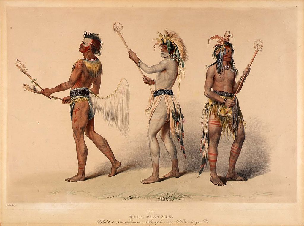 Litografie dupa o pictura de de GeorgeCatlin. Indieni Choctaw si Lakota, sursa Wikipedia