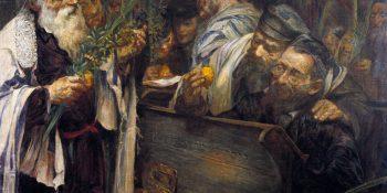 Pictură de Leopold Pilichowski, Sukkot în sinagogă. Sursa Wikipedia.