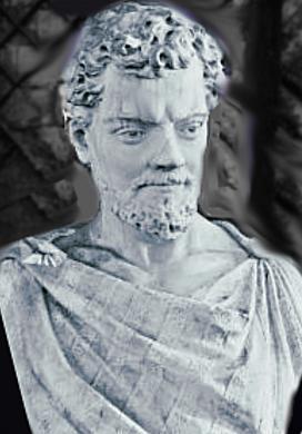 Bustul filosofului roman Lucretius, Parco del Pincio, Roma. Sursa Colle Pincio, autor foto Stefano RR, Wikipedia.