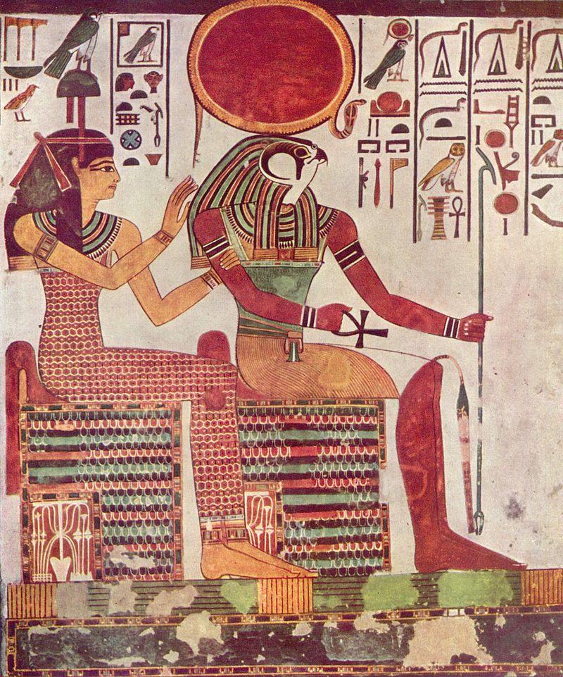 Sursă The Yorck Project: 10.000 Meisterwerke der Malerei. DVD-ROM, 2002. ISBN 3936122202. Distributed by DIRECTMEDIA Publishing GmbH, Wikipedia. Imentet şi Ra din mormântul lui Nefertari, sec.13 î.e.n.
